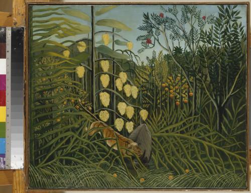 Henri (dit Le Douanier) Rousseau (1844-1910, France) Combat du tigre et du buffle, fin 1908-juillet 1909 Photo ©Saint-Pétersbourg, Musée d'État de l'Ermitage, 2016