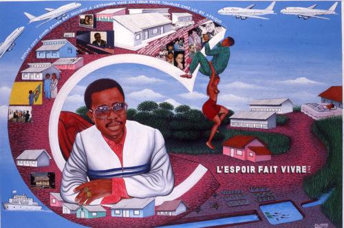 Chéri Samba. L'espoir fait vivre n°2. 130 x 194 cm. 1997. © Chéri Samba © Courtesy CAAC - The Pigozzi Collection