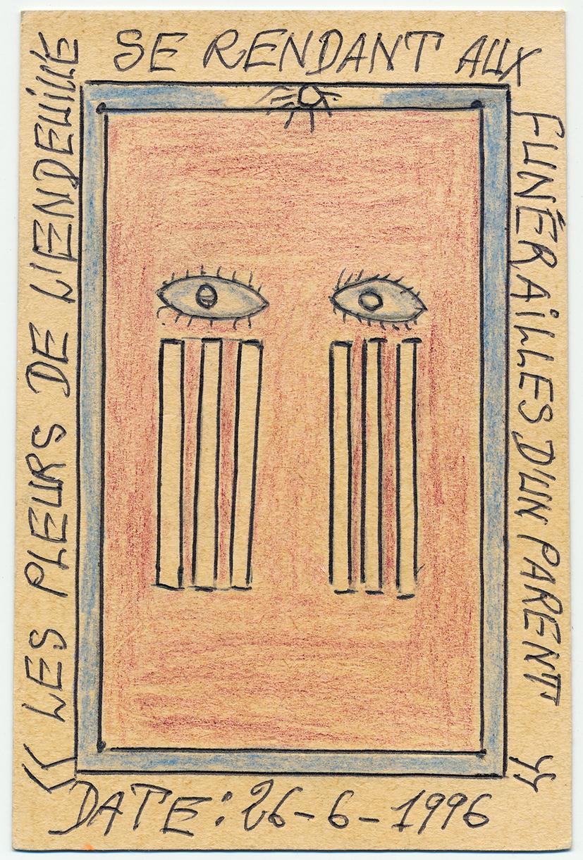Frédéric Bruly Bouabré. L'Endeuillé. 15 x 10 cm (chaque). 1996. © Frédéric Bruly Bouabré © Courtesy CAAC - The Pigozzi Collection