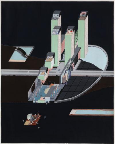 Rem Koolhaas — Madelon Vriesendorp Welfare. Palace Hotel Project, Roosevelt Island, New York City, New York, Cutaway axonometric (Projet pour le Welfare Palace Hotel, Roosevelt Island, New York City, État de New York, Axonométrie éclatée). 1976. Gouache sur papier, 129,5 × 102,9 cm. The Museum of Modern Art, New York. Don de la Howard Gilman Foundation, 2000. © Adagp Paris, 2017