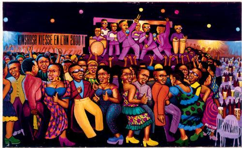 Moké, Nuit chaude à la cité, 1999, Acrylique sur toile, 148 x 243 cm, Collection Pigozzi