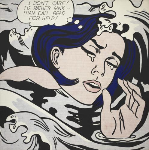 Roy Lichtenstein. Drowning Girl (Fille qui se noie). 1963 Huile et peinture acrylique sur toile 171,6 × 169,5 cm. The Museum of Modern Art, New York. Philip Johnson Fund (par échange) et don de M. et Mme Bagley Wright, 1971. © Estate of Roy Lichtenstein New York / ADAGP, Paris 2017