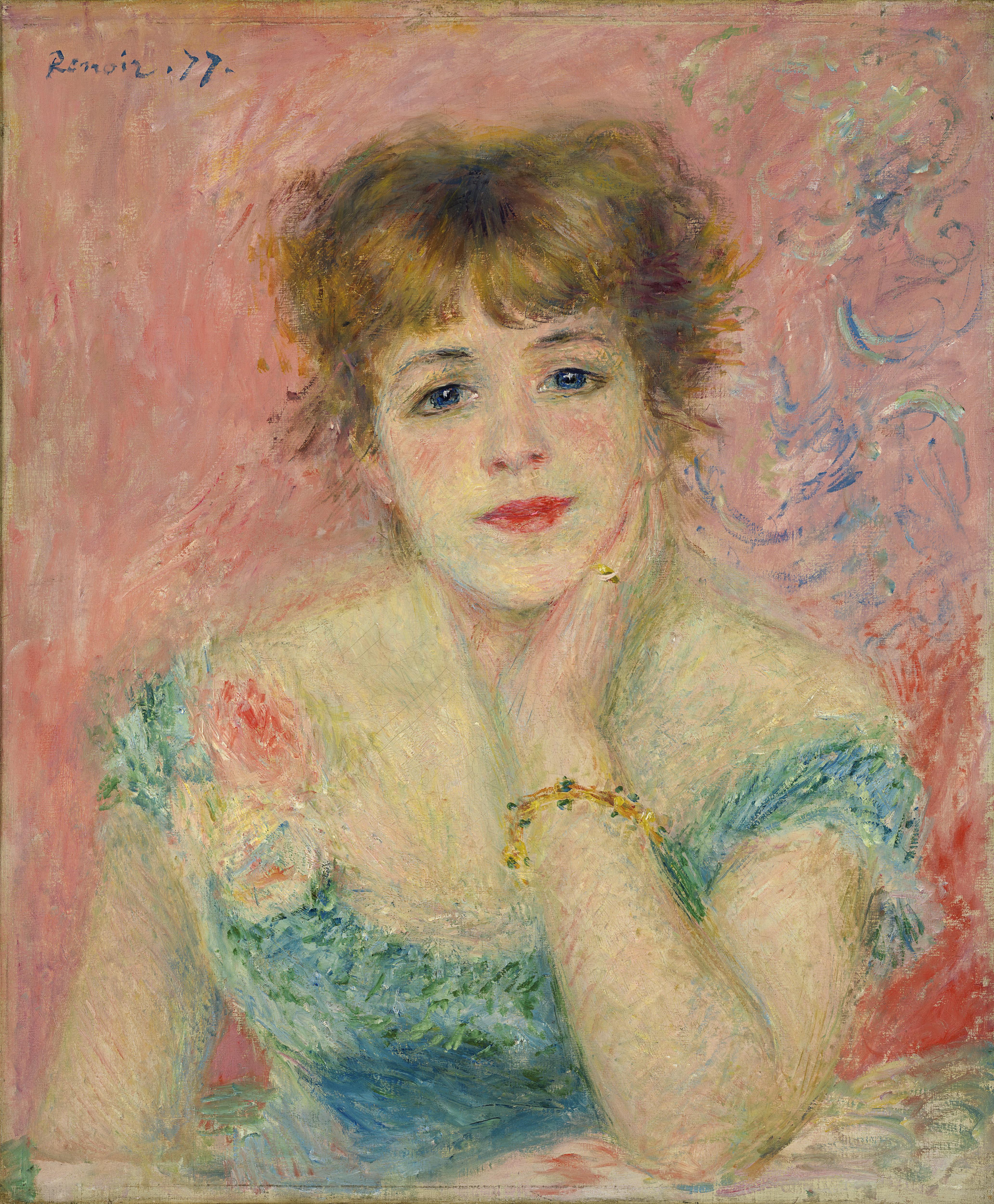 Portrait de Jeanne Samary ou La Rêverie. Jean-Auguste Renoir. Huile sur toile, 56 × 47  cm, 1877. Musée des beaux-arts Pouchkine, Moscou (ancienne collection Morozov) © Musée des beaux-arts Pouchkine