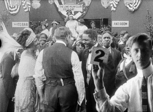 Odessa Warren Gray, director T Hayes Hunter (back the camera), Henry Troy,  J. Homer Tutt, John Wesley Jenkins, production still Lime Kiln Club Field Day 1914/2014, Museum of Modern Art New York