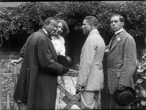 Bert Williams ,Odessa Warren Gray, Henry Troy, Walker Thompson, scene still Lime Kiln Club Field Day 1914/2014, Museum of Modern Art New York