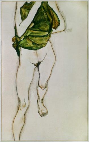 Egon Schiele. Torse en chemise verte, en train de marcher, 1913. Gouache, aquarelle et crayon sur papier. 48,2 x 31,7 cm. Collection particulière. Photo : © akg-images / Erich Lessing