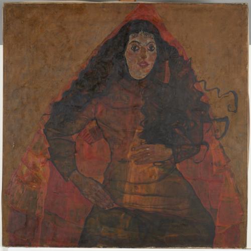 Egon Schiele. Portrait de Trude Engel, 1911-1913. Huile sur toile. 100 x 100 cm. LENTOS Kunstmuseum Linz. Photo : © Reinhard Haider