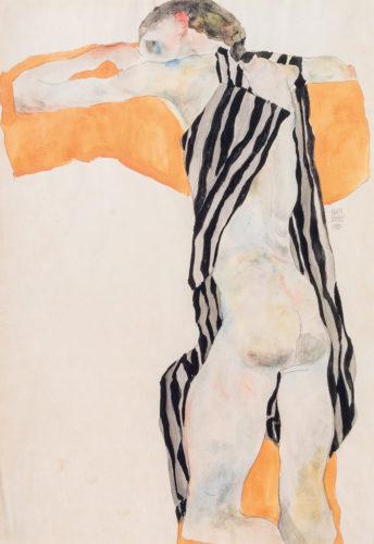 Egon Schiele. Jeune fille couchée, en chemisier à rayures, 1911. Crayon et aquarelle sur papier. 44,3 x 30,6 cm. Collection particulière, Vienne. Courtesy Kunsthandel Giese & Schweiger, Vienne. Photo : © Kunsthandel Giese & Schweiger, Vienne