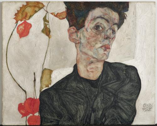 Egon Schiele. Autoportrait au coqueret, 1912. Huile et gouache sur bois. 32,2 x 39,8 cm. Leopold Museum, Vienne. Photo : © Leopold Museum, Vienne