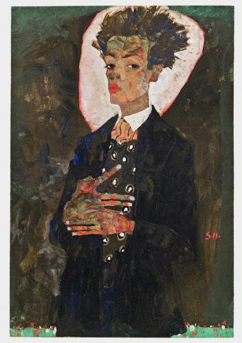 Egon Schiele. Autoportrait au gilet, debout, 1911. Gouache, aquarelle et crayon gras sur papier, monté sur carton. 51,5 x 34,5 cm. Ernst Ploil, Vienne. Photo : Courtesy of Ernst Ploil, Vienne