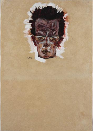 Egon Schiele. Autoportrait, tête, 1910. Gouache, aquarelle et fusain sur papier. 42,6 x 29,6 cm. Ömer Koç. Photo : © Hadiye Cangókçe