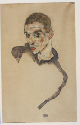Egon Schiele Autoportrait, 1914 Gouache, aquarelle et crayon sur papier 47 x 30,6 cm Ömer Koç Photo : © Hadiye Cangókçe