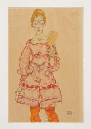 Egon Schiele. Femme avec un miroir, 1915. Gouache et crayon sur papier. 49,6 x 32,5 cm. Tel Aviv Museum of Art Collection, ca. 1953. Photo : © Elad Sarig