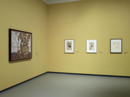 "Installation view of the ""Egon Schiele"" exhibition, gallery 1 (level -1), Fondation Louis Vuitton, Paris."