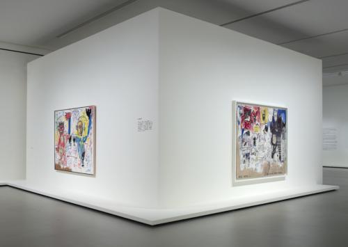 Vue d'installation de l'exposition Jean-Michel Basquiat, galerie 2 (niveau -1), Fondation Louis Vuitton, Paris.