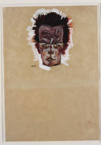 Egon Schiele. Self-Portrait, Head, 1910. Gouache, watercolor, and charcoal on paper. 42.6 × 29.6 cm. Ömer Koç Picture: © Hadiye Cangókçe
