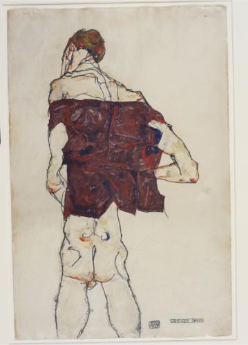 Egon Schiele. Standing Man, 1913. Gouache, watercolor, and pencil on paper. 48.1 × 31.8 cm. Ömer Koç. Picture: © Hadiye Cangókçe