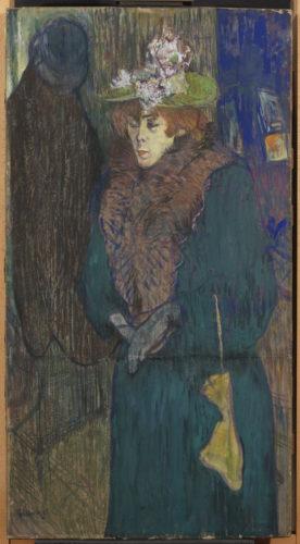 Henri de Toulouse-Lautrec. Jane Avril à l'entrée du Moulin Rouge, mettant ses gants, vers 1892. © The Samuel Courtauld Trust, The Courtauld Gallery, London